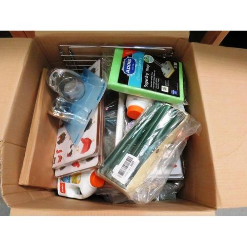 46 - A BOX OF HOUSEWARES INCLUDES VACUUM BAGS, METAL WHISKS, OVEN RACKS ETC...