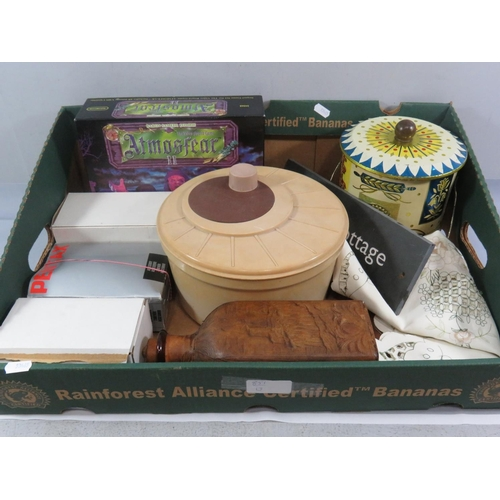 51 - BOX LOT INCLUDING LEATHER BOTTLE...