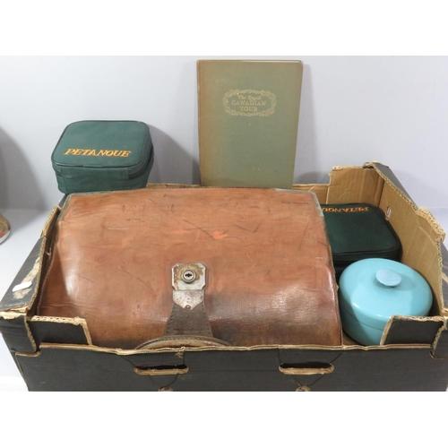 56 - BOX OF VINTAGE ITEMS INCLUDING GLADSTONES BAG...