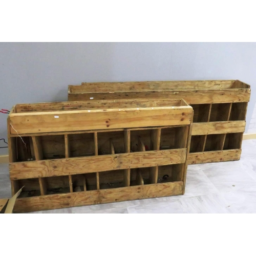 189 - TWO WOODEN VAN STORAGE SHELVES...