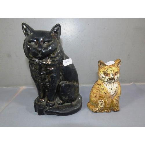 275 - CAST IRON CAT DOORSTOP AND CAT FIRESIDE...