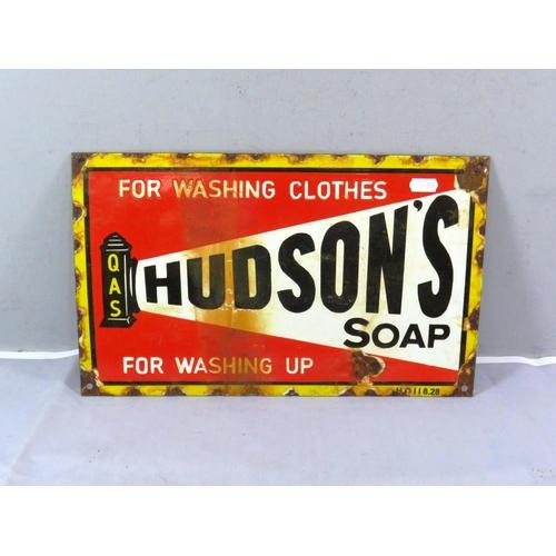 276 - ENAMEL SIGN HUDSONS SOAP - 15