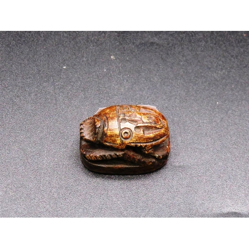 467 - EGYPTIAN SCARAB CARVED STONE BEETLE WITH HIEROGLYPHICS ON  THE BASE...