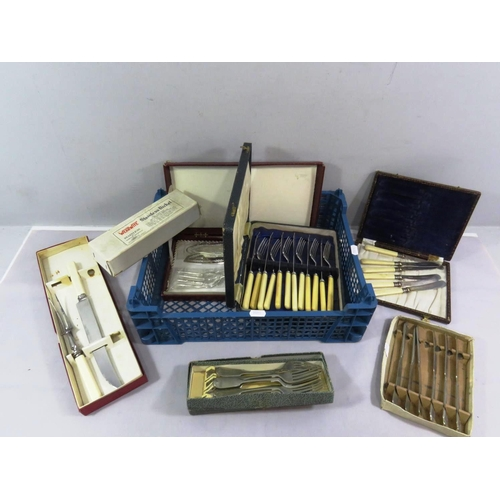 2 - SELECTION OF VINTAGE CANTEENS CUTLERY...