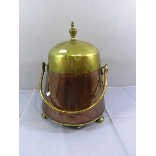 4 - ANTIQUE COPPER AND BRASS LIDDED COAL BUCKET...