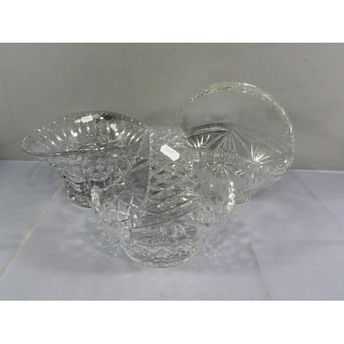 11 - THREE PIECES OF QUALITY CUT GLASS INCLUDES TWO HANDLED BASKETS AND A BOWL...