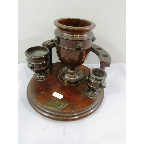 12 - WOODEN PIPE RACK STAND WITH STRIKER AND POTS...