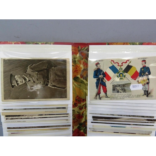 17 - POSTCARD ALBUM OF VARIOUS POSTCARDS SOME MILITARY...