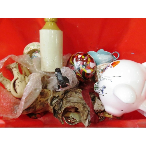 18 - BOX OF MISCELLANEOUS INCLUDES WAKEFIELD STONEWARE BOTTLE...