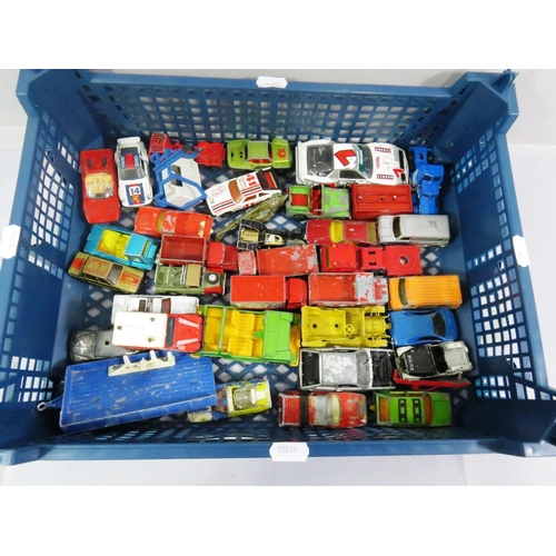 27 - BOX OF PLAY WORN DIE-CAST VEHICLES...