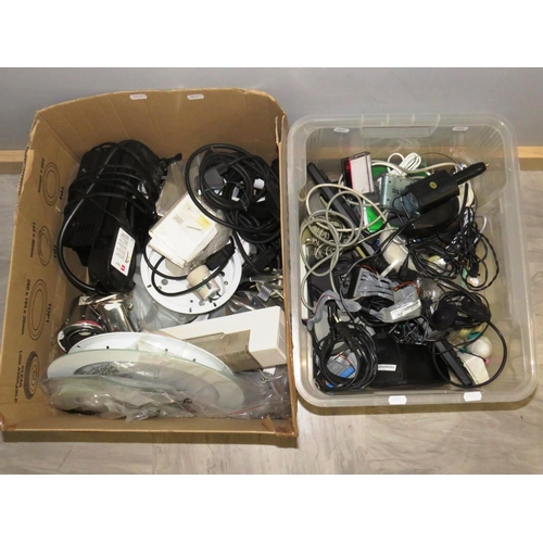 34 - TWO BOXES OF COMPUTER AND ELECTRICAL ITEMS...