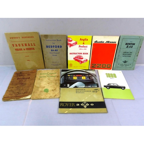 45 - TEN VINTAGE CAR OWNERS HANDBOOKS...