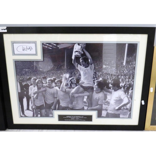 54 - THREE FRAMED SPORTING PICTURES INCLUDING PELE...