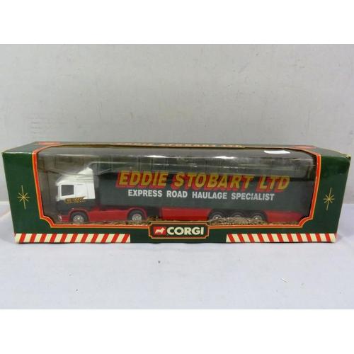 55 - CORGI BOXED EDDIE STOBART SCANIA CURTAINSIDE TRAILER...