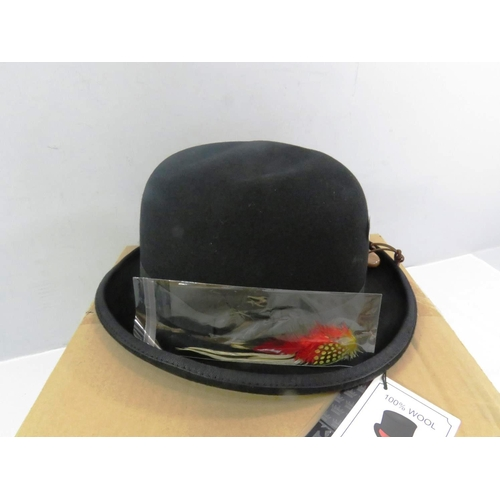 9 - 100% WOOL HANDMADE BLACK BOWLER HAT WITH BRUSH AND FEATHER BOXED AS NEW...