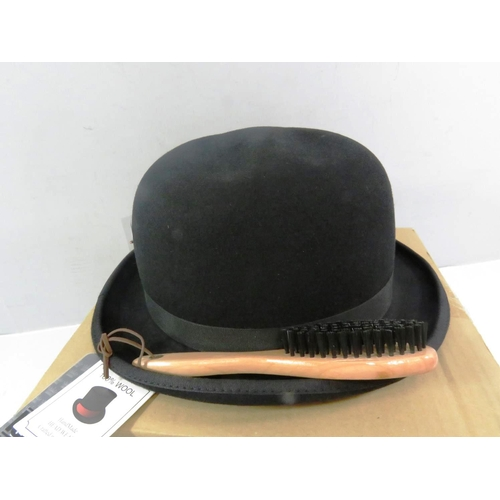 17 - 100% WOOL HANDMADE BLACK BOWLER HAT WITH BRUSH AND FEATHER BOXED AS NEW...