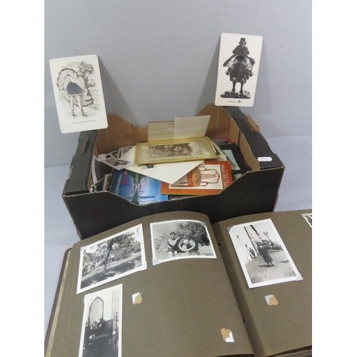 49 - BOX OF PHOTOS AND POSTCARDS, SOME ALBUMS...