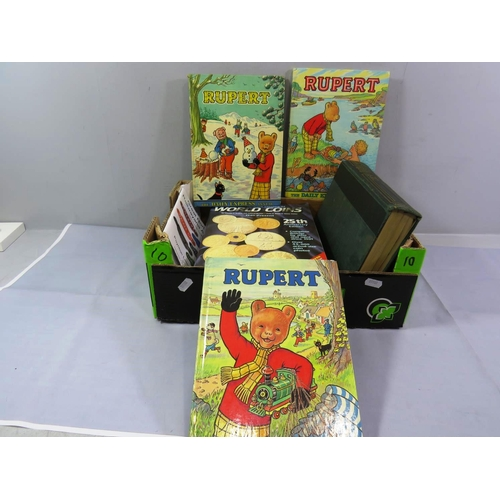 33 - COLLECTION OF OLD BOOKS AND ANNUALS INCLUDING RUPERT THE BEAR...