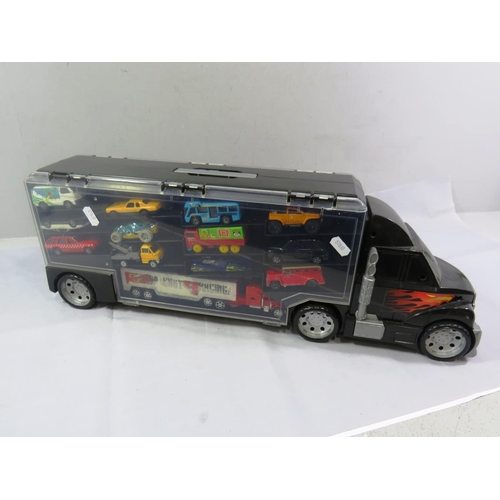 51 - TOY CAR TRANSPORTER WITH CARS...