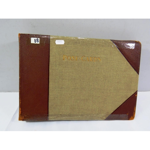 14 - OLD POSTCARD ALBUM CONTAINS OVER 100 POSTCARDS...