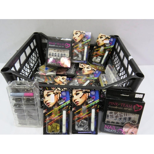 57 - BASKET OF NAIL ART KITS...