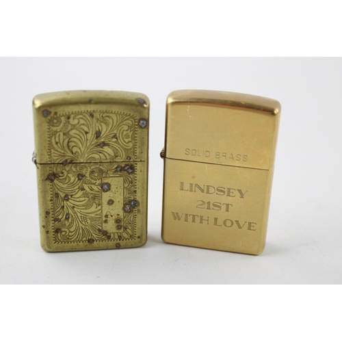 1 - 2 x ZIPPO Solid BRASS Cigarette LIGHTERS Inc Engraved (112g)...