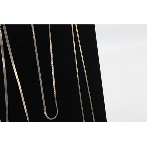 16 - 6 x .925 Sterling Silver NECKLACE CHAINS, Herringbone, Assorted Lengths (57g)...