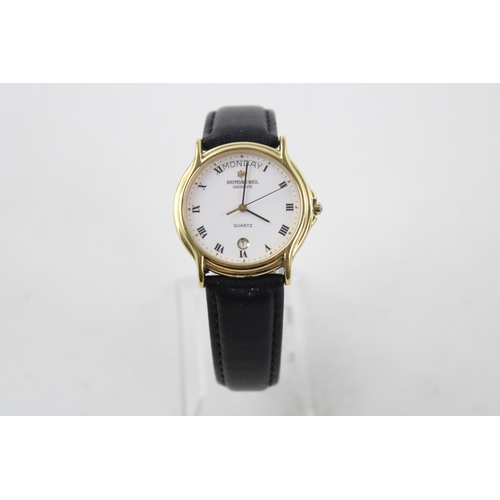 32 - Gents RAYMOND WEIL Geneve Gold Tone WRISTWATCH Quartz WORKING New Battery Fitted...