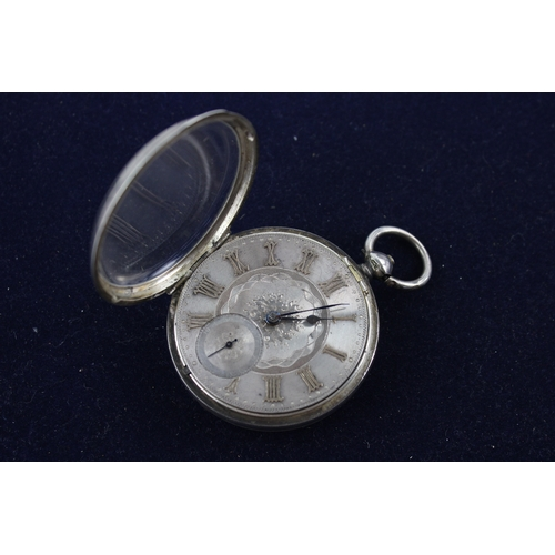 139 - Antique Gents Hallmarked .925 STERLING SILVER Pocket Watch Key-Wind WORKING 138g...