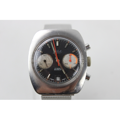 114 - Vintage Gents PILOT Stainless Steel WRISTWATCH Hand-Wind WORKING...