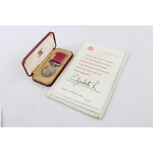 132 - ER II Boxed British Empire MEDAL w/ Palace Letter Named Thomas William Bailey...