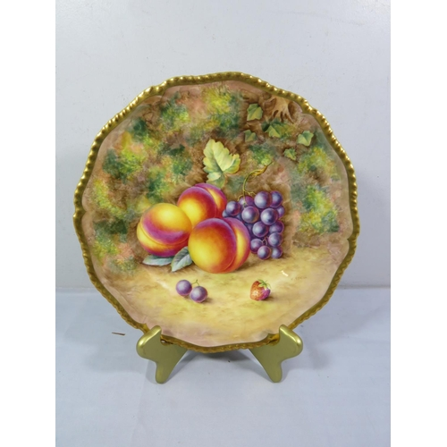 206 - ROYAL WORCESTER HAND PAINTED FRUIT PATTERN PLATE SIGNED H.AYRTON...
