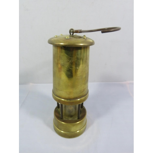 208 - BRASS MINERS LAMP VALLEY CRAFT WALES...