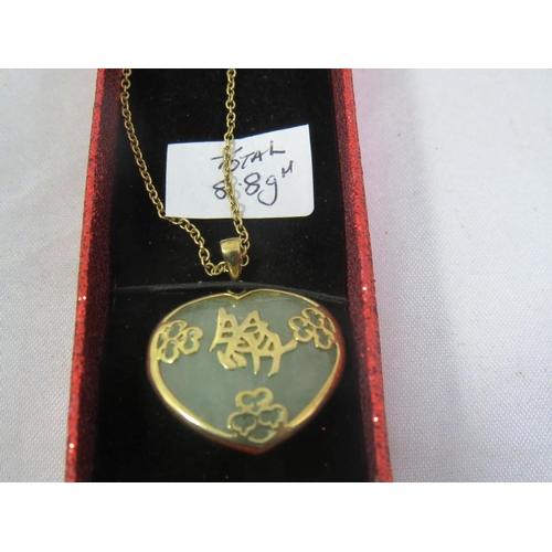 226 - 9CT AND JADE NECKLACE 8.8G...