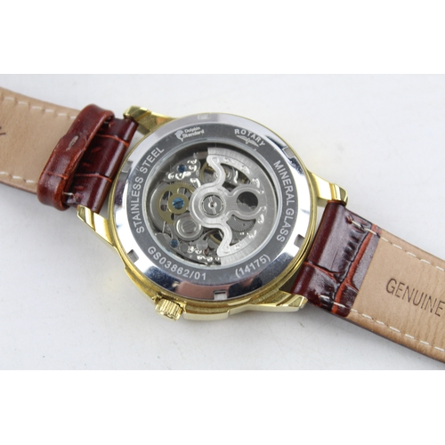 181 - Gents ROTARY Skeleton Gold Tone WRISTWATCH Automatic In Original Box...
