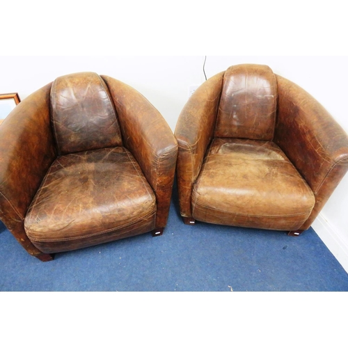 621 - PAIR OF DISTRESSED BROWN LEATHER AVIATION STYLE TUB CHAIRS...