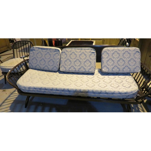 562 - RETRO THREE SEATER SOFA AND TWO CHAIRS - ERCOL - DAY BED...