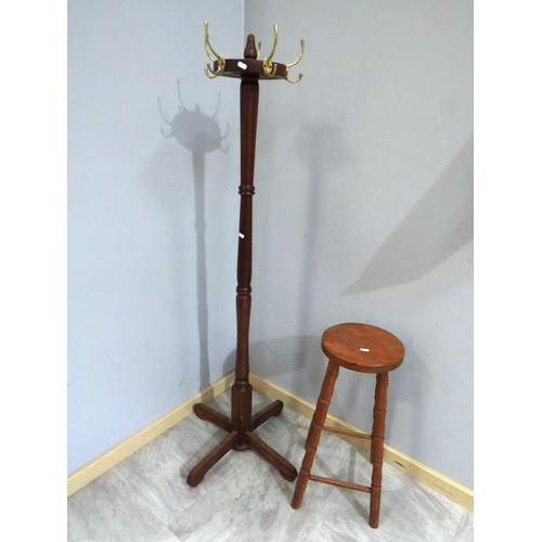 563 - HAT STAND AND BAR STOOL...