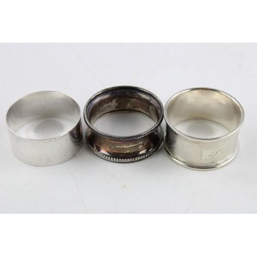 2 - 4 x Vintage Hallmarked .925 STERLING SILVER Napkin Rings & Sugar Tongs (74g)...