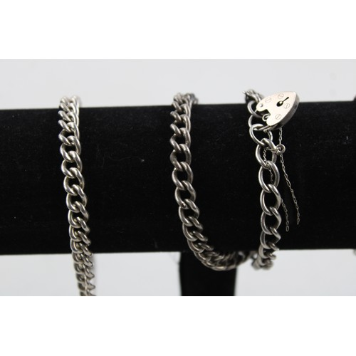 6 - 4 x Vintage .925 Sterling Silver BRACELETS w/ Heart Padlock Clasps (69g)...