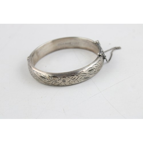 10 - 3 x .925 Sterling Silver BANGLES inc Engraved Design, Wide, Foliate (75g)...