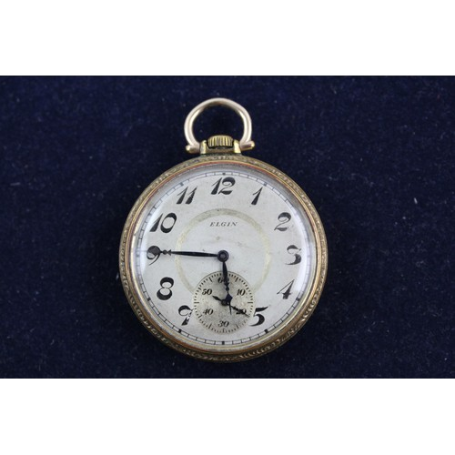 14 - Vintage Gents ELGIN Gold Tone POCKET WATCH Hand-Wind WORKING w/ Signed Movement...