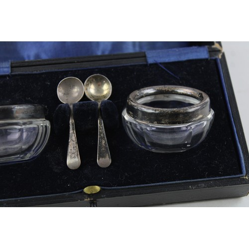 23 - Pair of Hallmarked 1938 Birmingham STERLING SILVER Banded Condiment Dishes 104g...