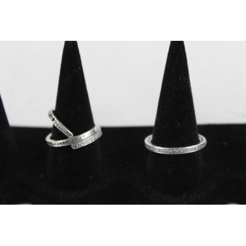 26 - 4 x PANDORA .925 Sterling Silver RINGS inc. CZ, Cross Over, Enamel (18g)...