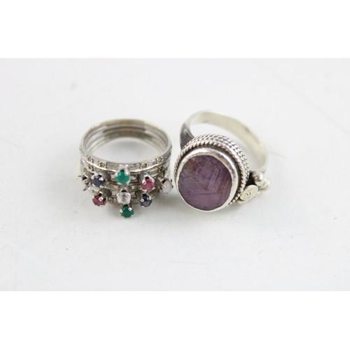 27 - 4 x GEMSTONE .925 Sterling Silver RINGS inc. Eastern Tradition, Harem  (33g)...