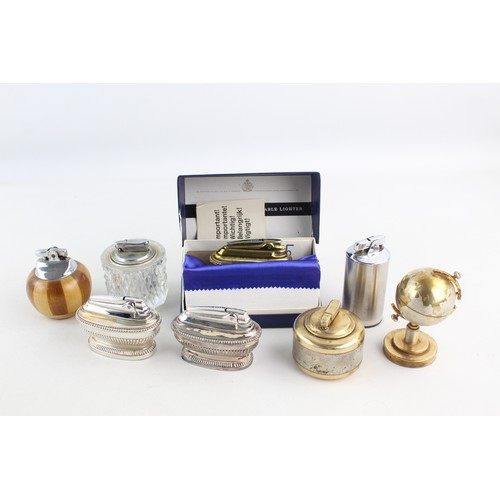 28 - 8 x Assorted Vintage Table Cigarette LIGHTERS Inc Ronson, Colibri, Windmill Etc...