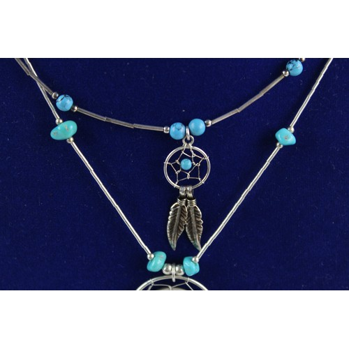 30 - 3 x Vintage .925 STERLING SILVER Navajo Style NECKLACES Inc. Turquoise (18g)...