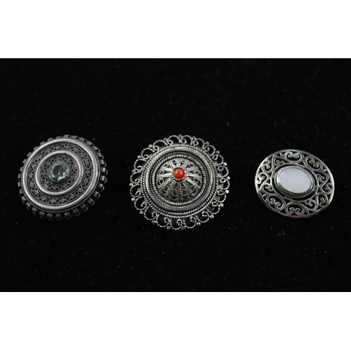 32 - 6 x Vintage .935 & .925 Sterling Silver GEMSTONE BROOCHES inc. Eilat (58g)...