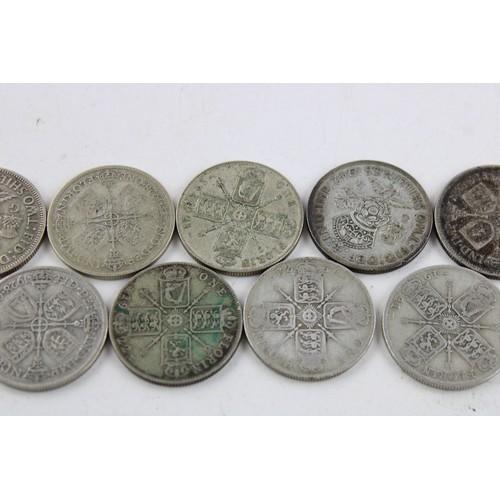 33 - 9 x Pre 1947 George V & George VI 2 Shilling / Florin Silver Coins (100g)...