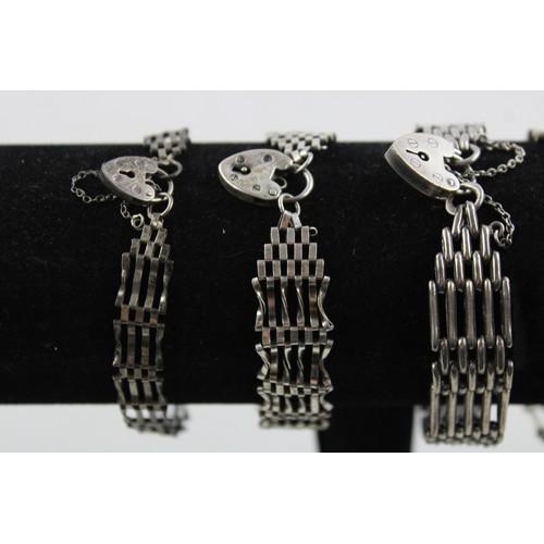 40 - 4 x Vintage .925 Sterling Silver GATE BRACELETS w/ Heart Padlock Clasps (49g)...